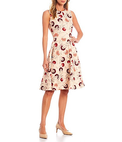 Calvin Klein Sleeveless Crew Neck Floral Fit and Flare Dress