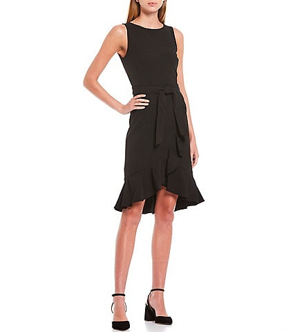 Calvin Klein Sleeveless Ruffle Hem Belted Dress