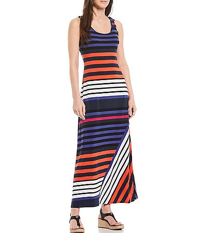 Calvin Klein Sleeveless Scoop Neck Multi Striped Maxi Dress