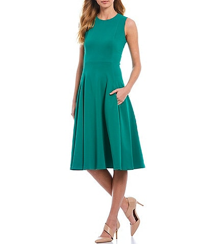Calvin Klein Sleeveless Solid Pocket A-Line Below The Knee Dress