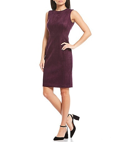 Calvin Klein Sleeveless Suede Sheath Dress