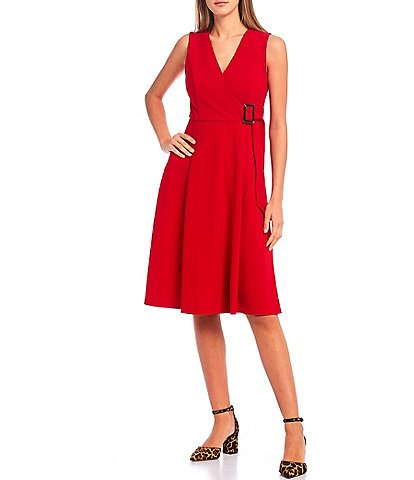 Calvin Klein Sleeveless Surplice V-Neck Side Buckle A-Line Dress