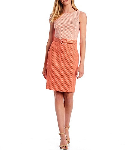 Calvin Klein Sleeveless Two Toned Belted Sheath Dress