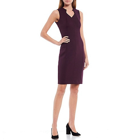 Calvin Klein Sleeveless V-Neck Crepe Sheath Dress
