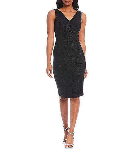 Calvin Klein Sleeveless V-Neck Glitter Knit Sheath Dress