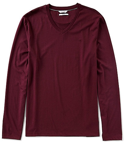 Calvin Klein Slim-Fit Solid Jersey Long-Sleeve V-Neck Tee