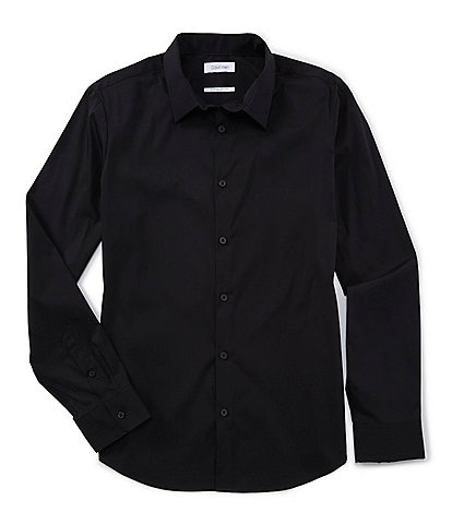Calvin Klein Slim-Fit Solid Stretch Long-Sleeve Woven Shirt
