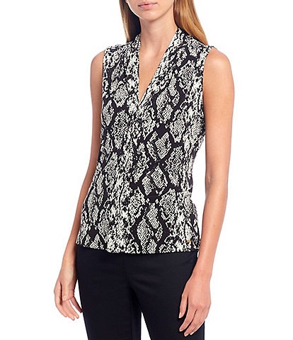 Calvin Klein Snakeskin Print Matte Jersey V-Neck Shoulder Pleat Sleeveless Top