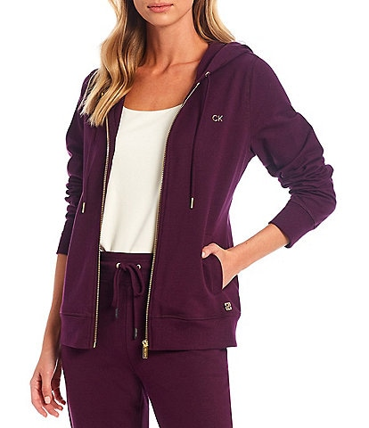 Calvin Klein Solid French Terry Long Sleeve Knit Zip Front Coordinating Drawstring Hoodie