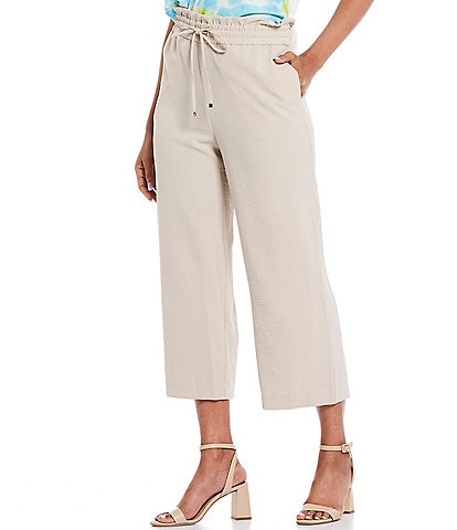 Calvin Klein Solid Hammered Texture Woven Drawstring Waist Pull-On Cropped Wide-Leg Pants