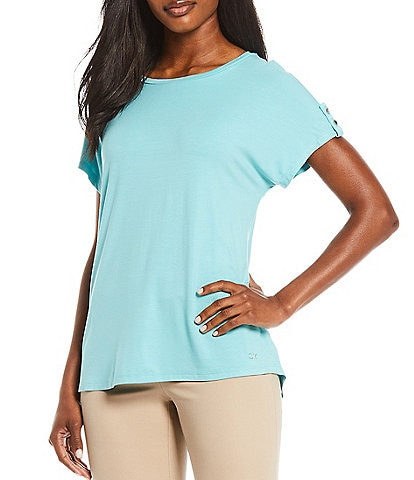 Calvin Klein Solid Knit Jewel Neck Button Tab Detail Sleeve Top