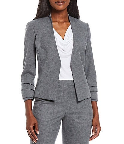 Calvin Klein Solid Luxe Stretch Woven Suiting Ruched Long Sleeve Open Front Jacket