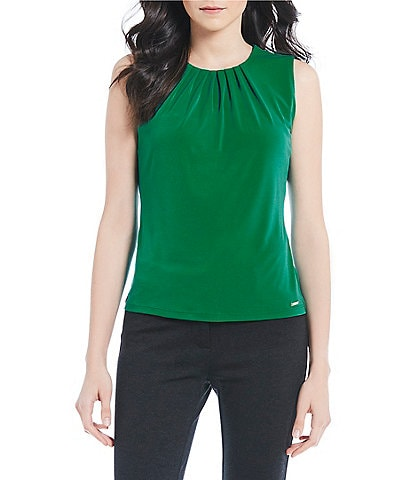 Calvin Klein Solid Matte Jersey Pleat Neck Top