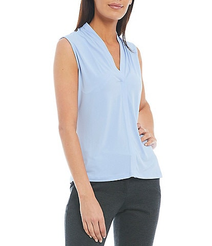 Calvin Klein Solid Matte Jersey V-Neck Shoulder Pleat Sleeveless Top