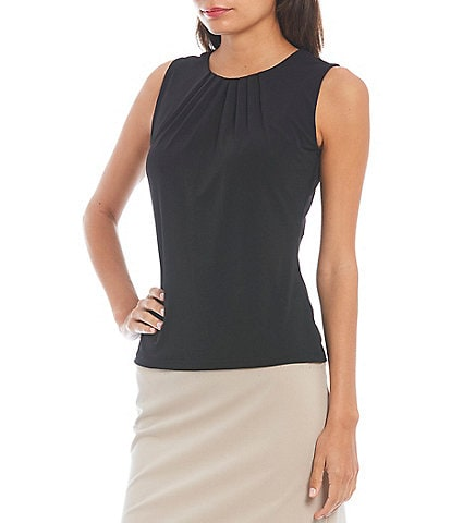 Calvin Klein Solid Pleated Crew Neck Knit Tank Top