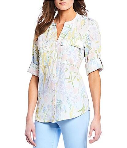 85269dc4824d8 Calvin Klein Spring Garden Floral Print Roll-Tab Sleeve Button Front Top