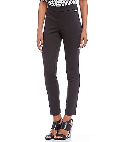 Calvin Klein Stretch Twill Elastic Waist Slim Leg Ankle Pants