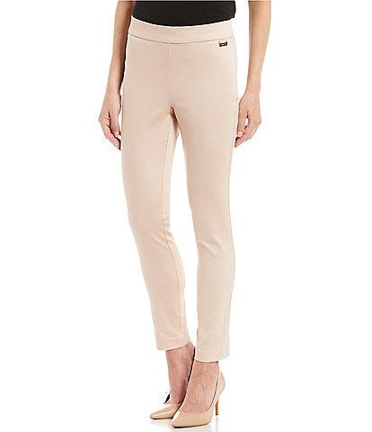 Calvin Klein Stretch Twill Elastic Waist Slim Leg Ankle Pants
