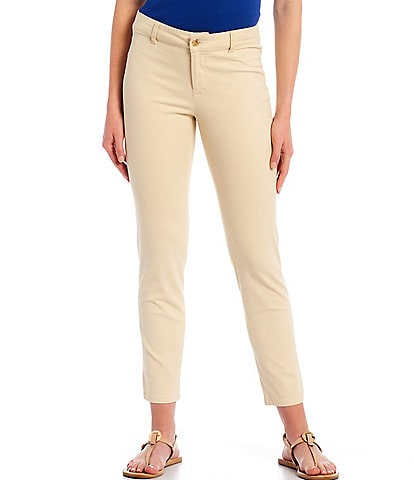 Calvin Klein Stretch Twill Straight Leg Mid Rise Ankle Pants