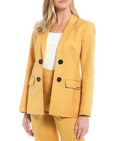 Calvin Klein Stretch Twill Suiting Open-Front Double Breasted Jacket
