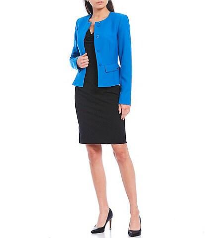Calvin Klein Stretch Twill Suiting Peplum Hem Jacket & Pencil Skirt