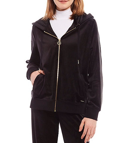 Calvin Klein Stretch Velour Zip-Front Hoodie Jacket With Faux Leather Stripe Sleeves