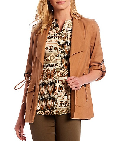 Calvin Klein Stretch Woven Wing Lapel Collar Roll-Tab Sleeve Drawstring Waist Detail Open-Front Jacket
