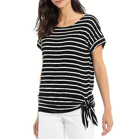 Calvin Klein Stripe Matte Jersey Round Neck Short Cuffed Sleeve Side Knot Detail Top