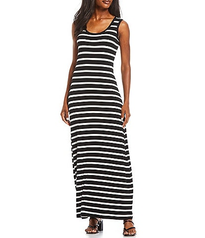 Calvin Klein Stripe Print Knit Jersey Scoop Neck Sleeveless Maxi Dress