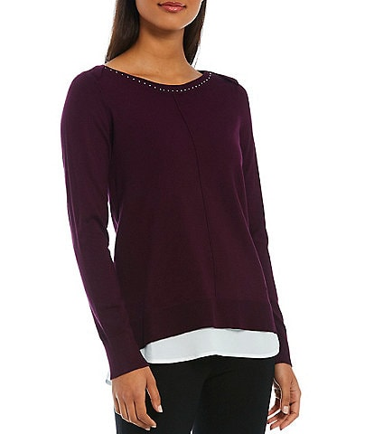 Calvin Klein Studded Long Sleeve Boat Neck Knit Sweater