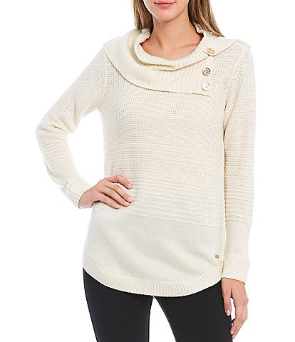 Calvin Klein Textured & Ribbed Metallic Knit Side Button Cowl Neck Long Sleeve Sweater