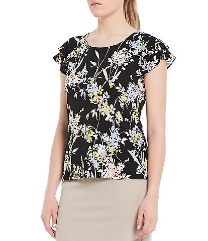 Calvin Klein Tossed Ditsy Floral Print Matte Jersey Double Ruffle Short Sleeve Top