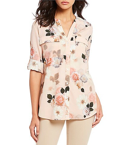 Calvin Klein Tossed Mixed Floral Print Roll-Sleeve Blouse
