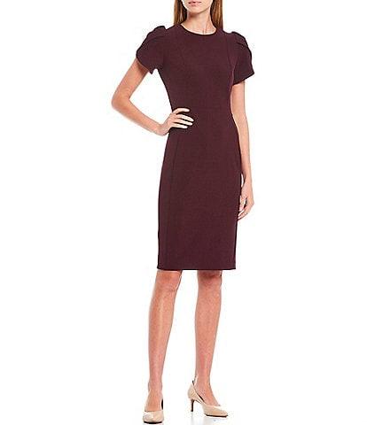 Calvin Klein Round Neck Tulip Sleeve Solid Sheath Stretch Dress