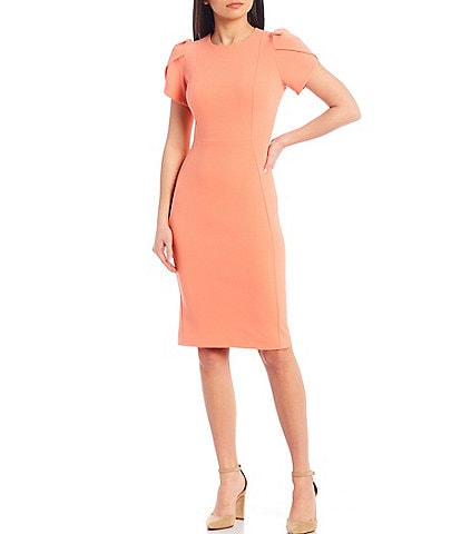 Calvin Klein Tulip Sleeve Solid Sheath Stretch Dress