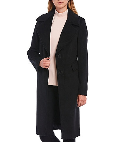Calvin Klein Two-Button Wool Blend Walker Coat