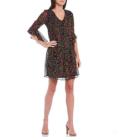 Calvin Klein V-Neck 3/4 Bell Sleeve Chiffon Floral Printed Shift Dress