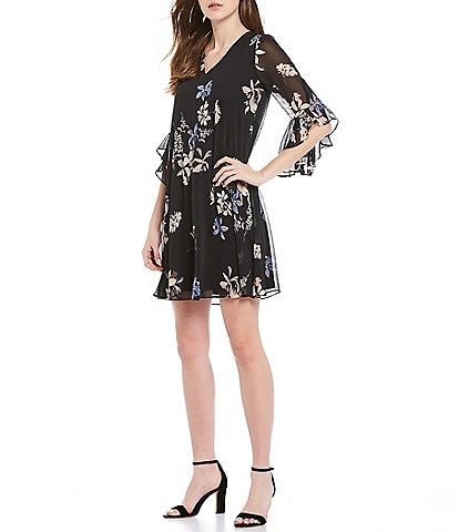 Calvin Klein V-Neck 3/4 Ruffle Sleeve Floral Chiffon Dress