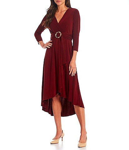 Calvin Klein V-Neck 3/4 Sleeve Ruffle Front Sash Midi Dress