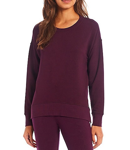 Calvin Klein Washed French Terry Jewel Neck Side Slit High-Low Pullover