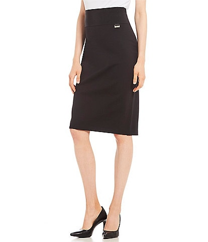 Calvin Klein Wide Waistband Ponte Knit Pencil Skirt