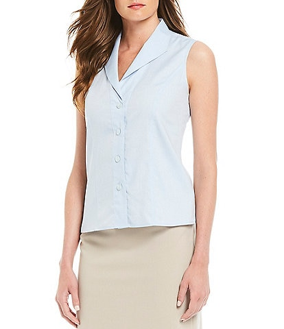 3043f25013a622 Calvin Klein Wrinkle-Free Pinpoint Oxford Sleeveless Blouse