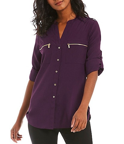 Calvin Klein Zip-Pocket Roll Tab Blouse