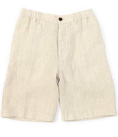 Caribbean Big & Tall Flat-Front Linen Drawstring 10#double; and 12#double; Inseam Shorts