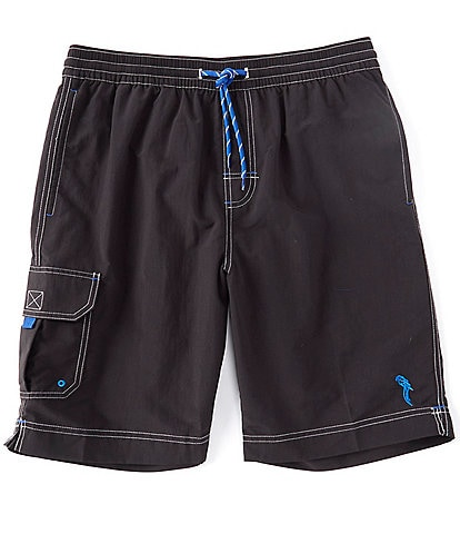 Caribbean Big & Tall Solid Cargo 9#double; and 11#double; Inseams Swim Trunks