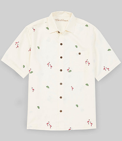 Caribbean Embroidered Flamingo Print Short-Sleeve Woven Shirt