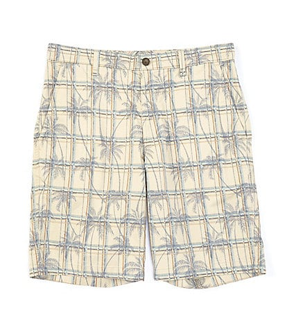 Caribbean Flat-Front Printed Cotton Blend 10#double; Inseam Shorts