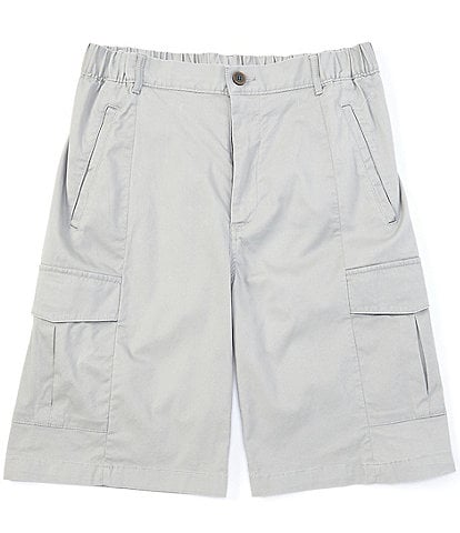 Caribbean Flat-Front Solid Stretch Cargo 10#double; Inseam Shorts