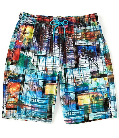 Caribbean Postcard Print 9#double; Inseam Swim Trunks