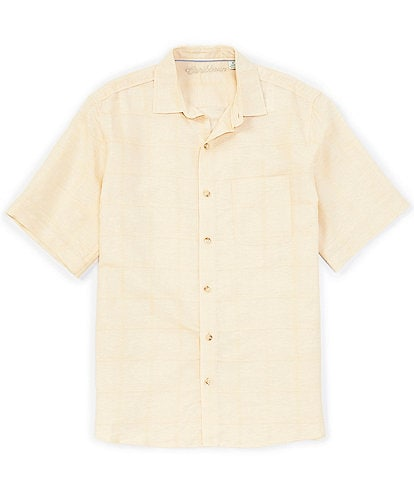 Caribbean Solid Linen Cotton Blend Short-Sleeve Woven Shirt